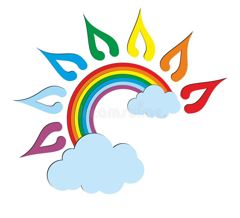 A sun logo with a rainbow. royalty free illustration