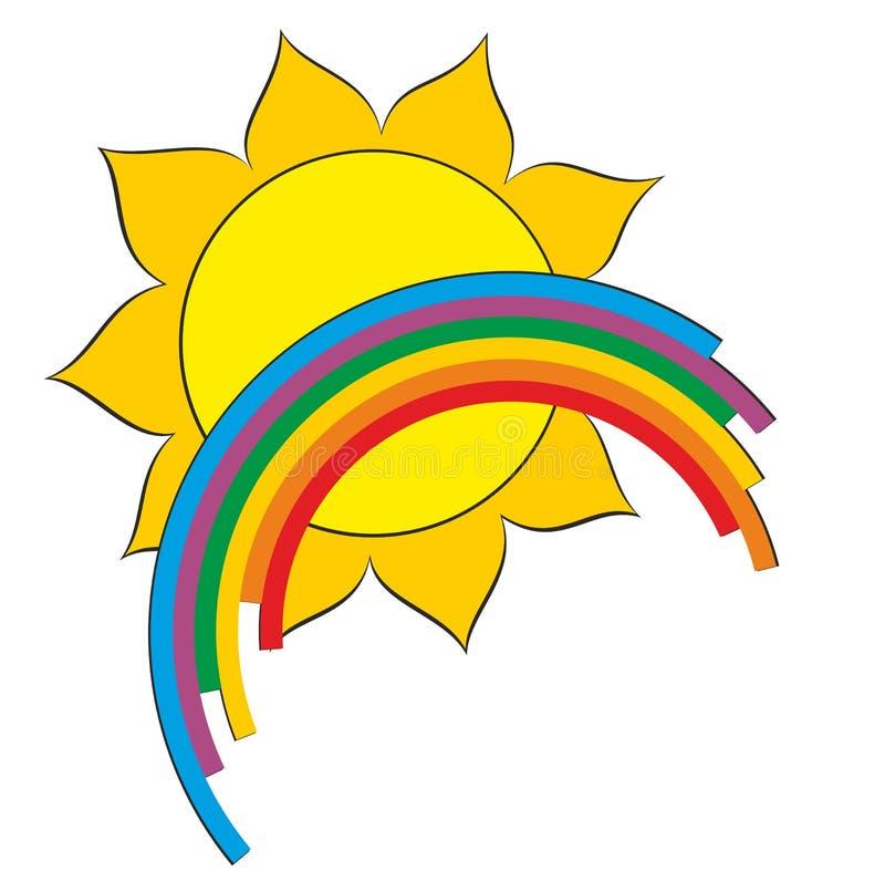 A sun logo with a rainbow. vector illustration