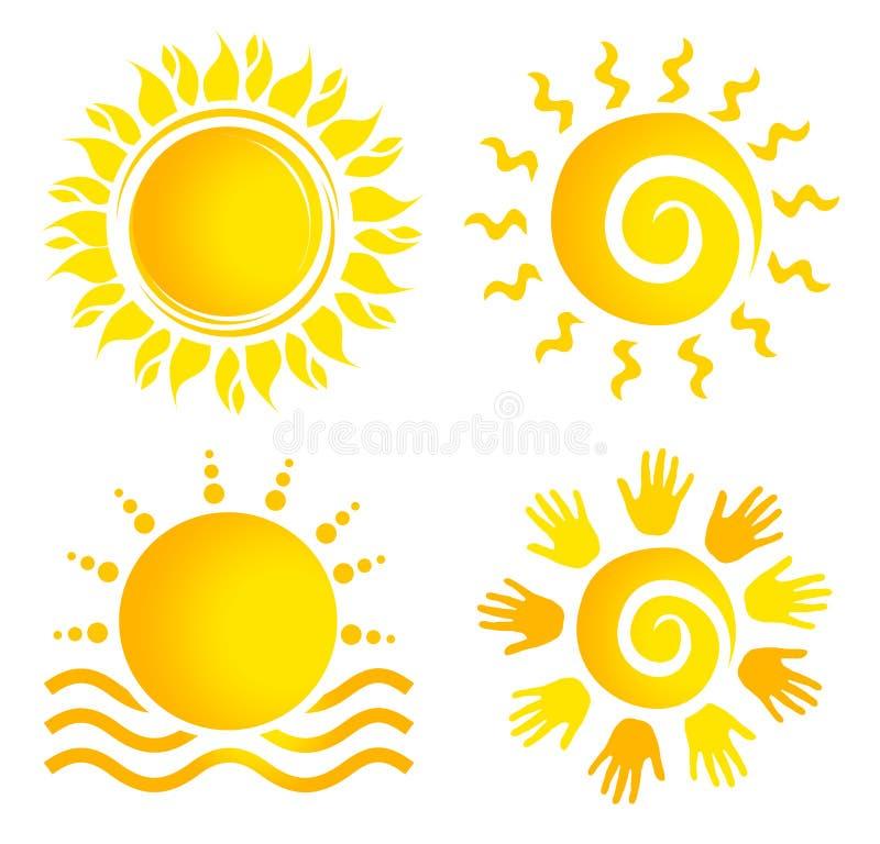 Sun Logo Set ilustración del vector