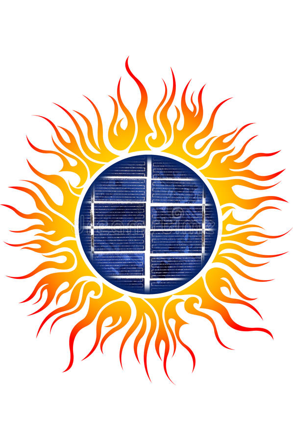 Sun Logo With Solar Panels Stock Illustration Image Of