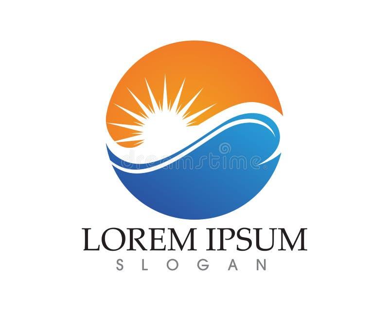 Sun-Logo und -symbole spielen Ikonennetz Vektor die Hauptrolle - stock abbildung