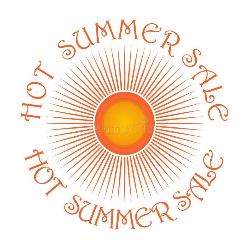 Sun-Logoikone und Aufschrift - heißer Sommerschlussverkauf lizenzfreie abbildung