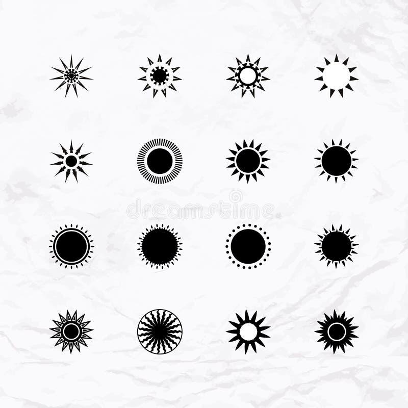 Sun-Logos eingestellt vektor abbildung