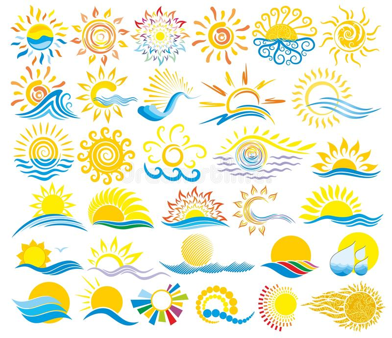 Sun Logos with the sea. stock illustration