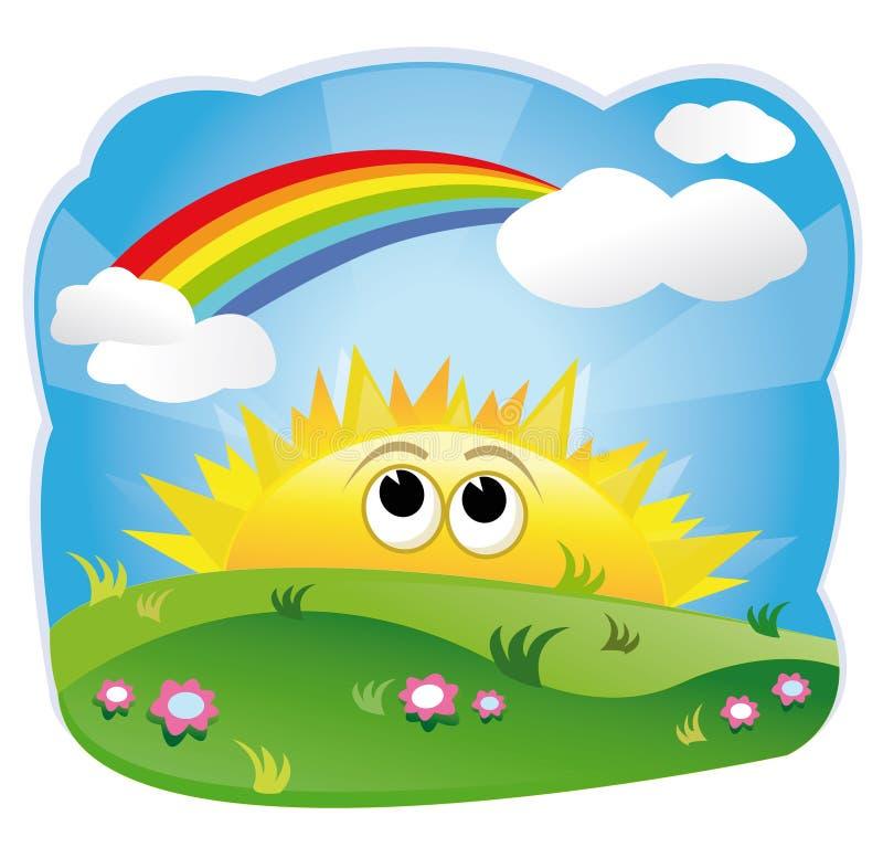 Sun looking at the rainbow vector illustration