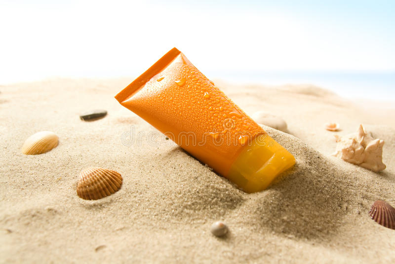 Download Sun lotion stock image. Image of seashell, protection - 12592433