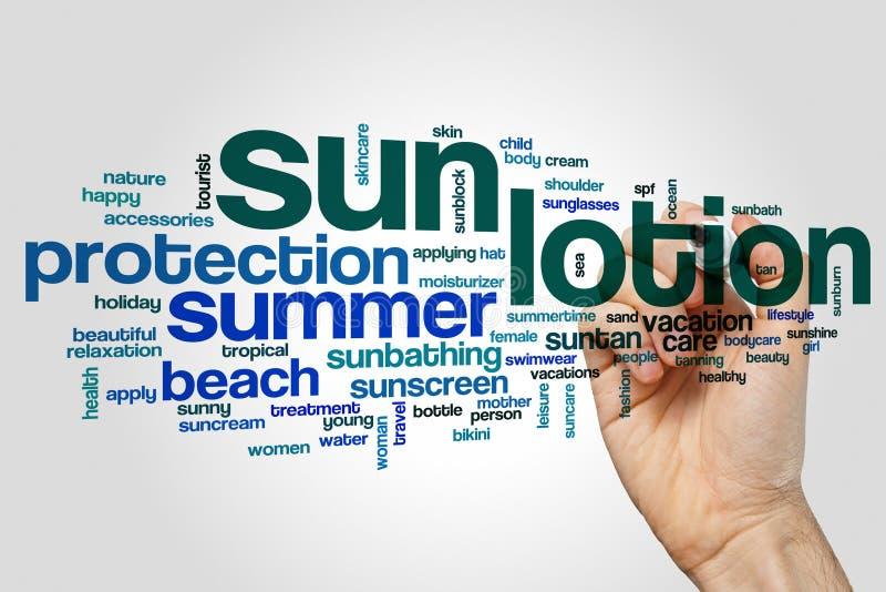 Sun lotion word cloud stock image