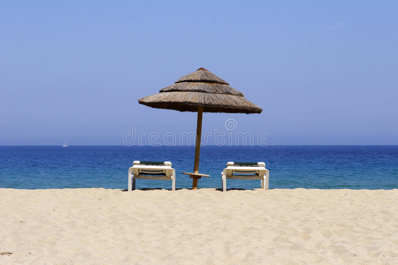 Download Sun Lounger On Sandy Beach, Co Stock Photo - Image: 3033994