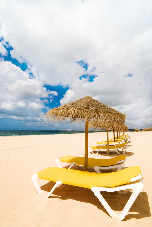 Download Sun Loungers At The Beach stock photo. Image of recliner - 10491052