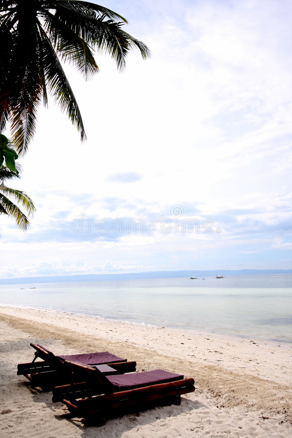 Download Sun loungers on the beach stock photo. Image of idyllic - 5133808