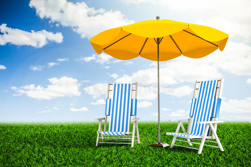 Download Sun loungers and umbrella stock photo. Image of space - 38720738