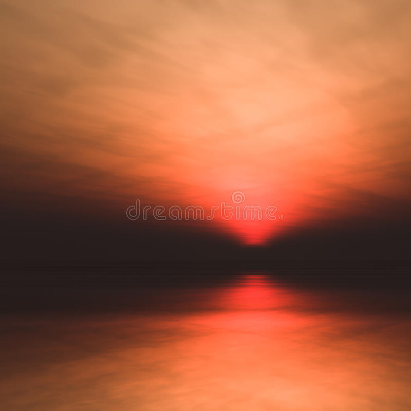 Sun low in horizon over water. A background misty sea with sun low in a dark, foggy and hazy horizon 3d illustration stock illustration