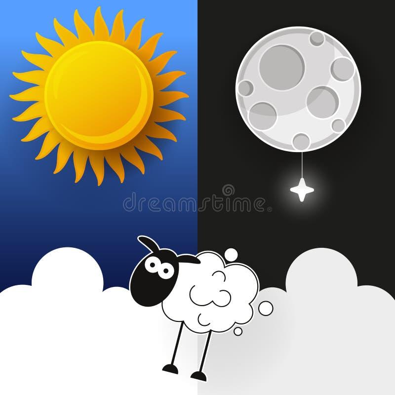 Sun, luna e stelle Insegne di vettore di notte e di giorno illustrazione vettoriale