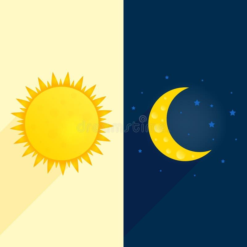 Sun, luna, protagoniza la bandera Concepto del día y de la noche Ejemplo soleado del aviador Fondo del tiempo D3ia del concepto d stock de ilustración