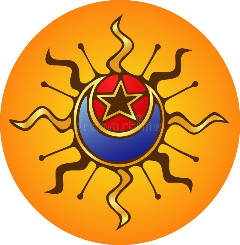 Sun, luna, stella illustrazione vettoriale