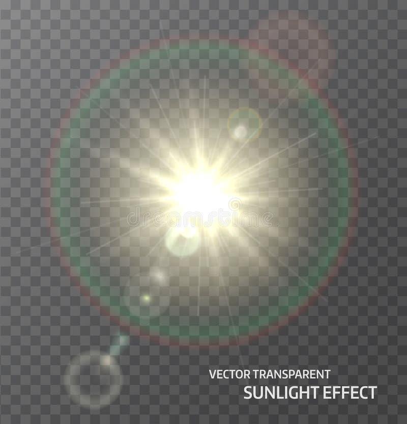 Sun, luz solar com raios e alargamento da lente ilumina-se Efeito da luz do fulgor Ilustração do vetor ilustração royalty free