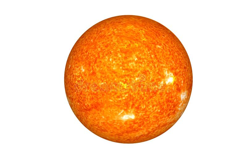The Sun. The main star of Solar system isolated. On white. Science fiction. Elements of this image were furnished by NASA stock photography