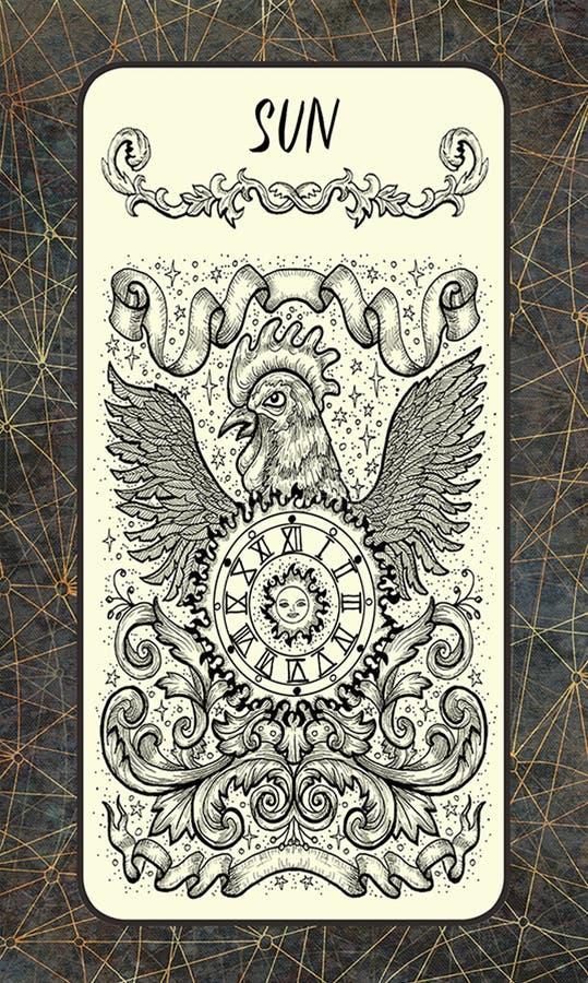 Sun Major Arcana Tarot Card ilustração stock