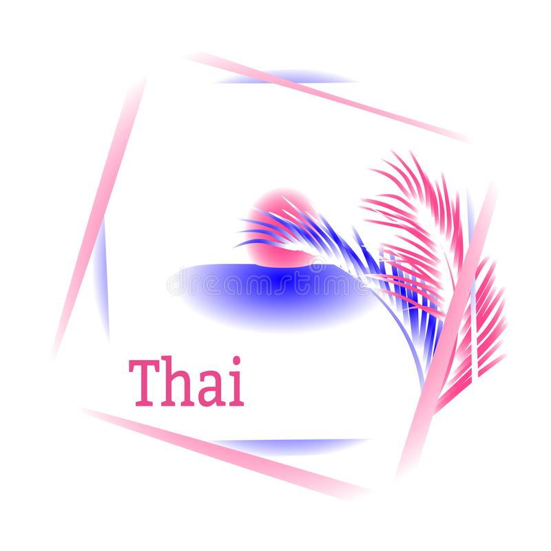 Sun, mar, palmeras y caligrafía Tailandia Logotipo en marco Dibujo del vector para la ropa del diseño, carteles, compañías del vi ilustración del vector