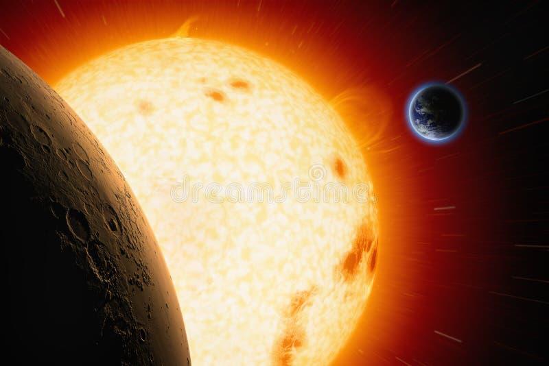 Sun, Mars, la terre image stock