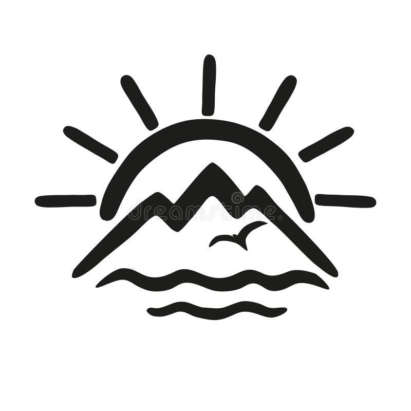 Sun, mer, montagnes Dirigez l'icône, le logo pour le thème du voyage et le tourisme illustration libre de droits