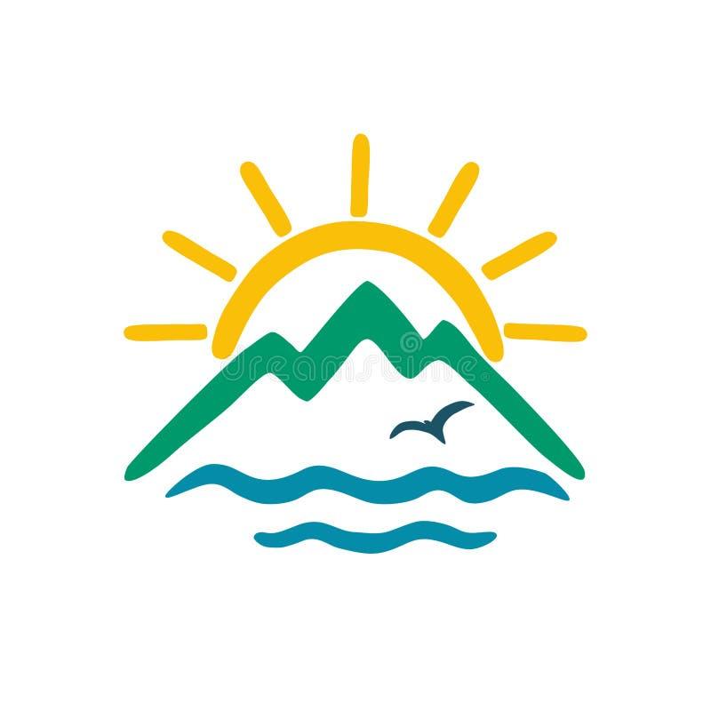 Sun, mer, montagnes Icône de couleur de vecteur, logo pour le thème du voyage illustration de vecteur