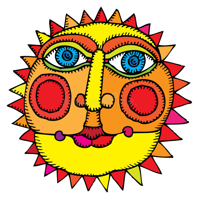 Sun in middle of summer royalty free illustration