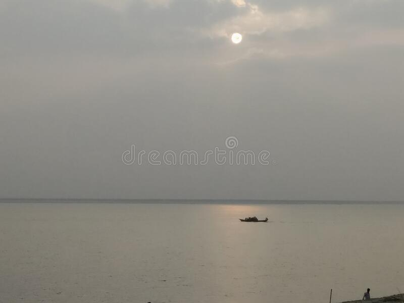 Sun and mini boat .nice nature picture stock images