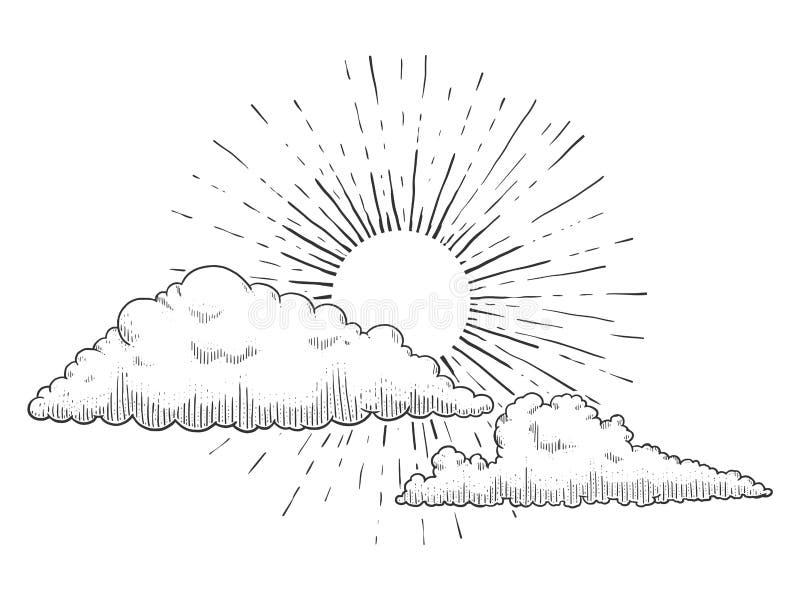 Sun mit den Wolken, die Vektorillustration gravieren lizenzfreie abbildung