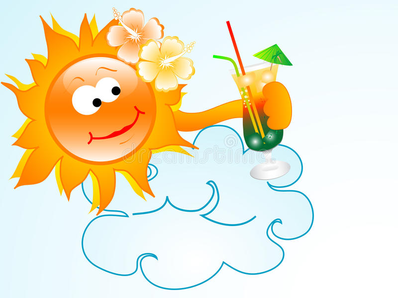 Sun mit Getränk stock abbildung