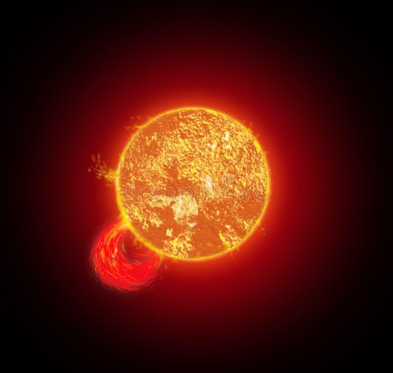 Sun mit Solarwind lizenzfreie abbildung