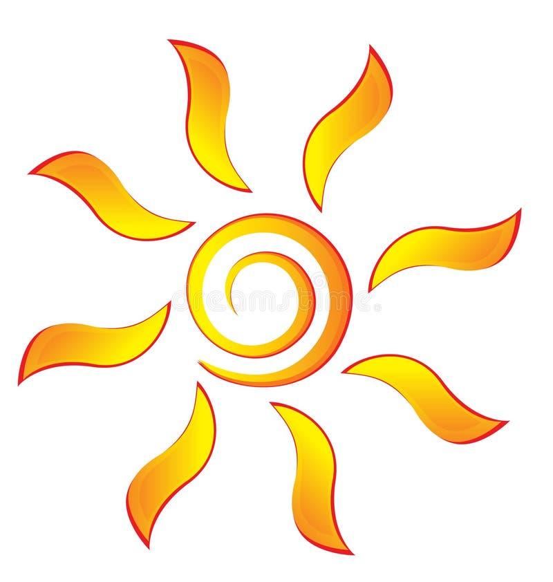 Sun mit swirly Strahlen stock abbildung