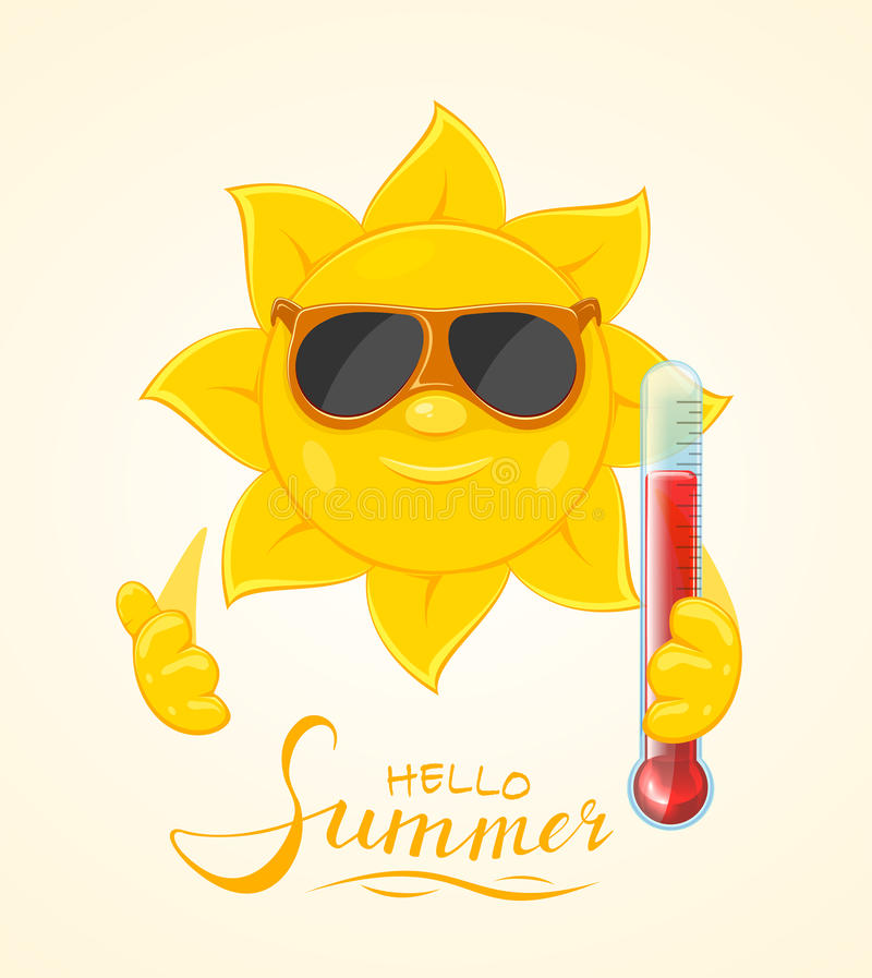 Sun mit Thermometer vektor abbildung