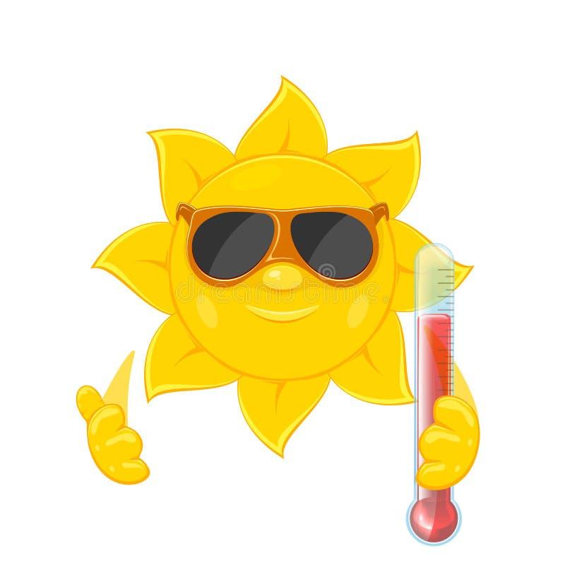 Sun mit Thermometer auf weißem Hintergrund lizenzfreie abbildung