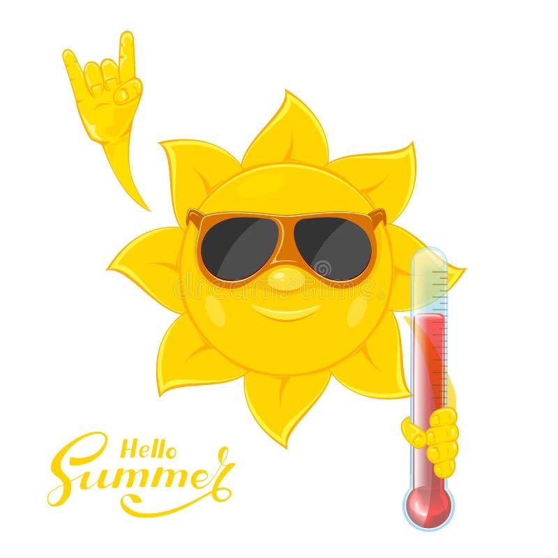 Sun mit Thermometer in der Hand vektor abbildung