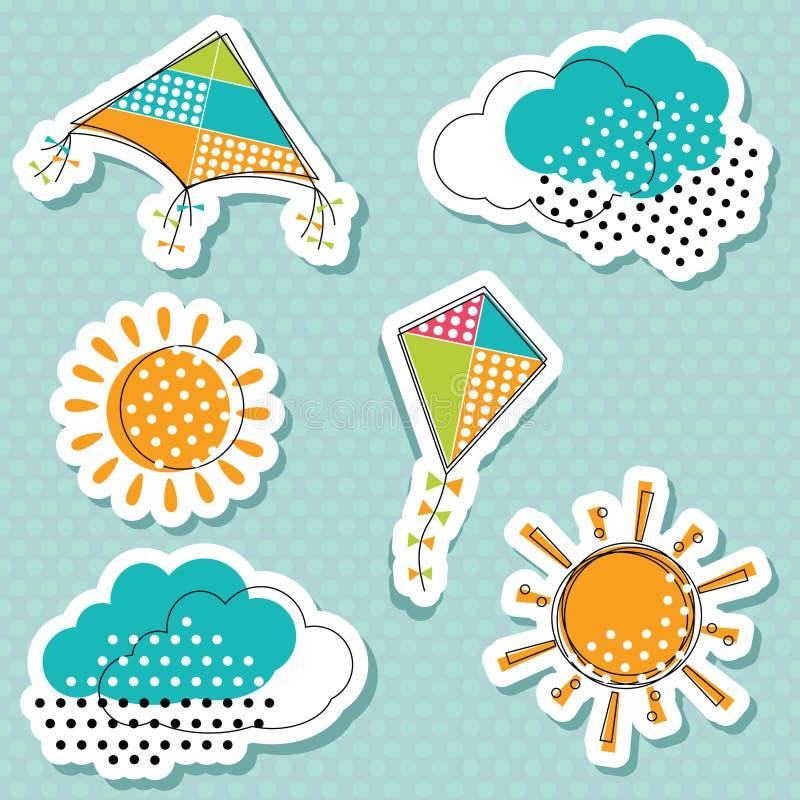 Sun mit Wolken und Fliegendrachenaufklebersammlung vektor abbildung