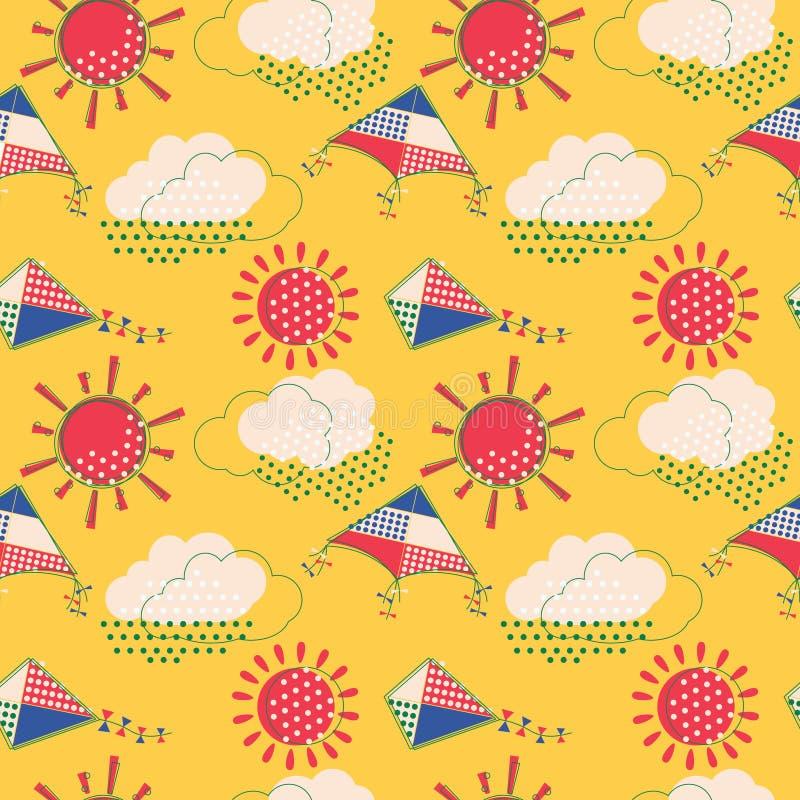 Sun mit Wolken und nahtlosem Muster der Fliegendrachen lizenzfreie abbildung
