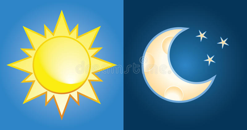 Sun and moon. Set of sun and moon, day and night