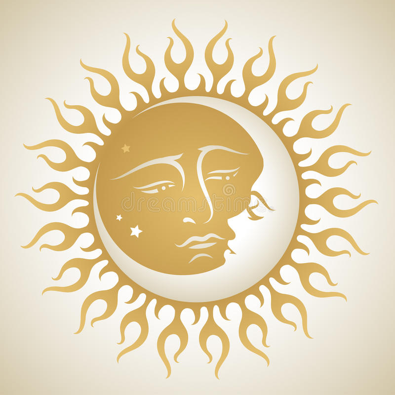 Sun and Moon. Esoteric illustration of the sun and the moon embracing