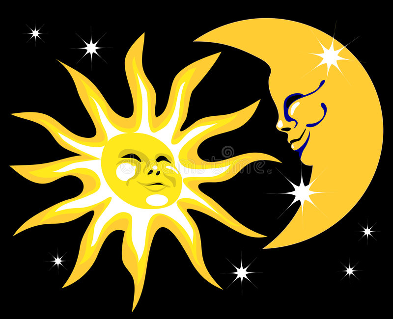 Sun and the Moon royalty free illustration