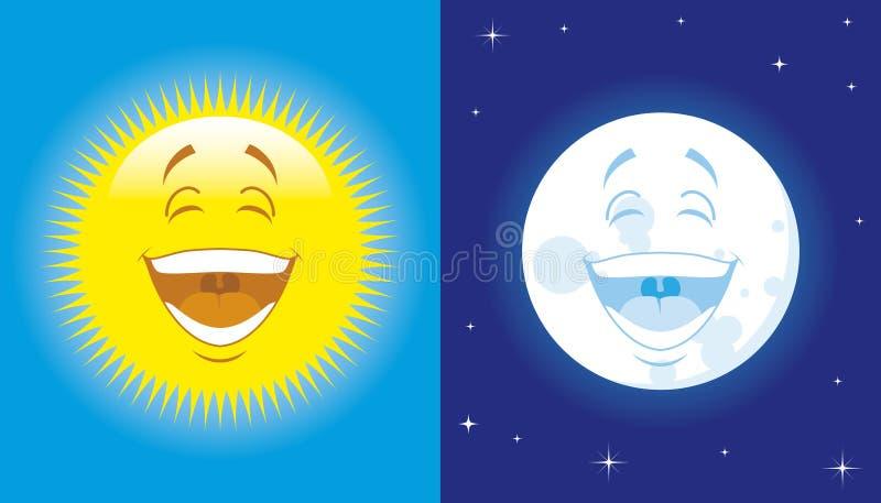 Sun and moon royalty free illustration