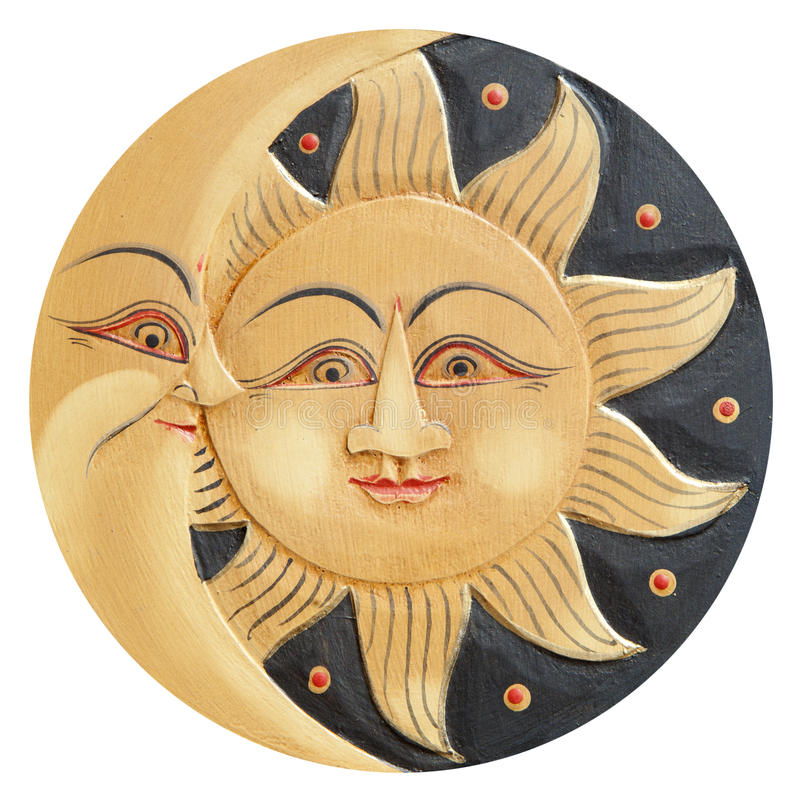 Sun and moon ancient carved. Sun and moon profiles, ancient carved wooden, isolated on a white background stock illustration