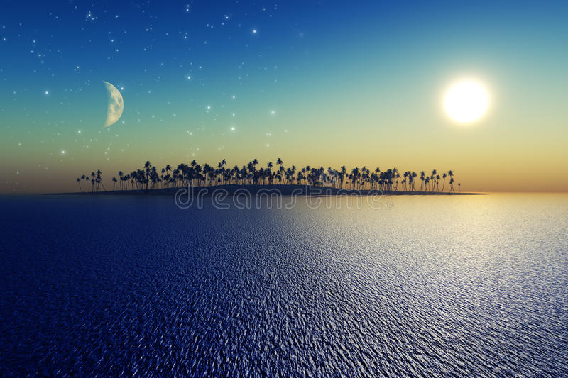 Download Sun and moon stock illustration. Illustration of palm - 32191336