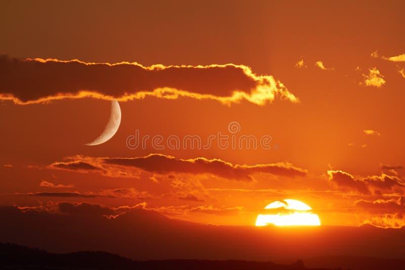 Sun and Moon royalty free stock photo