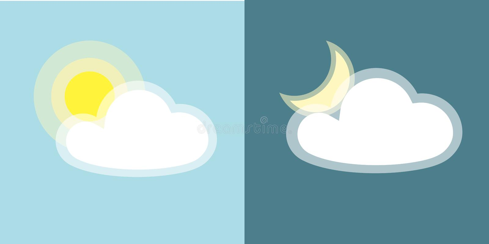 Sun moon clouds icon Simple symbol of day and night applications Isolated on blue background Day and night weather icon Flat. Sun, moon, clouds icon. Simple stock illustration