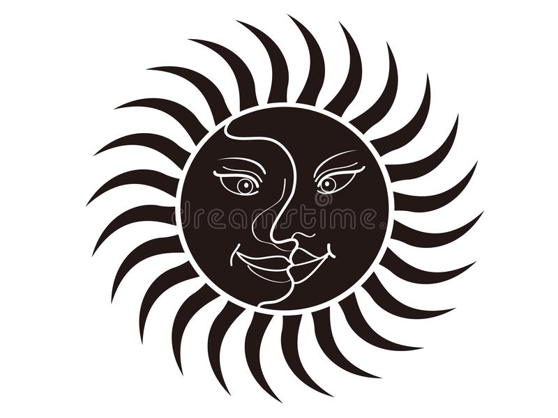 Sun and moon face stock illustration