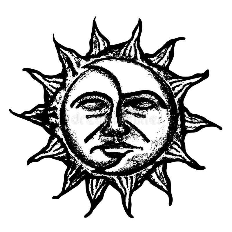 Sun and moon face sketch. Black and white sun and moon face paint on white paper stock illustration