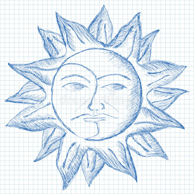 Sun and moon face sketch. Blue ink sun and moon face paint on grid paper royalty free illustration