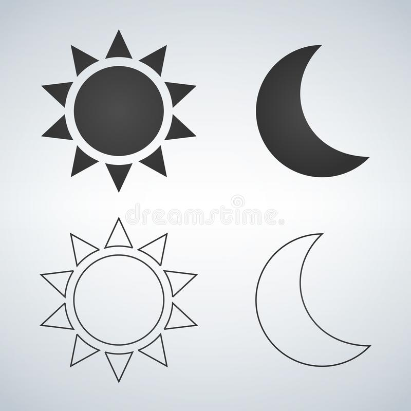 Sun and moon flat and linear icon. . Vector icon for web design, mobile and infographics. Vector illustration Isolated on white ba royalty free illustration