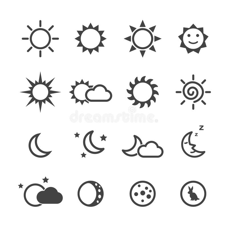 Sun and moon icons vector illustration